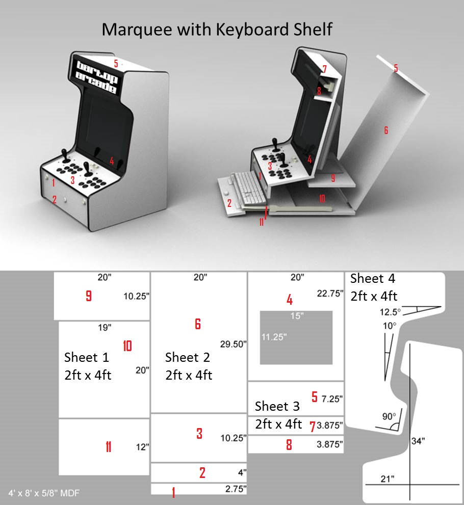 Merveilleux Plans For LCD MAME Bartop With Sliding Keyboard And Marquee | DIY |  Pinterest | Arcade, Retro Arcade And Gaming